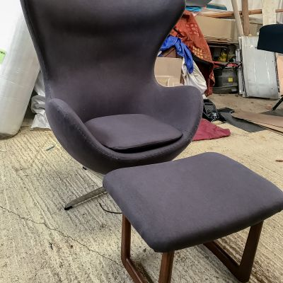 "Photo of project ""Egg chair with foot stool Reupholstery 9"" #6"